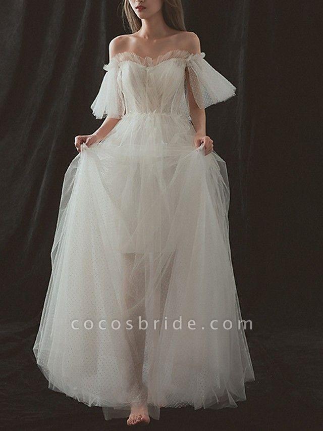 A-Line Wedding Dresses Strapless Floor Length Tulle Short Sleeve Formal