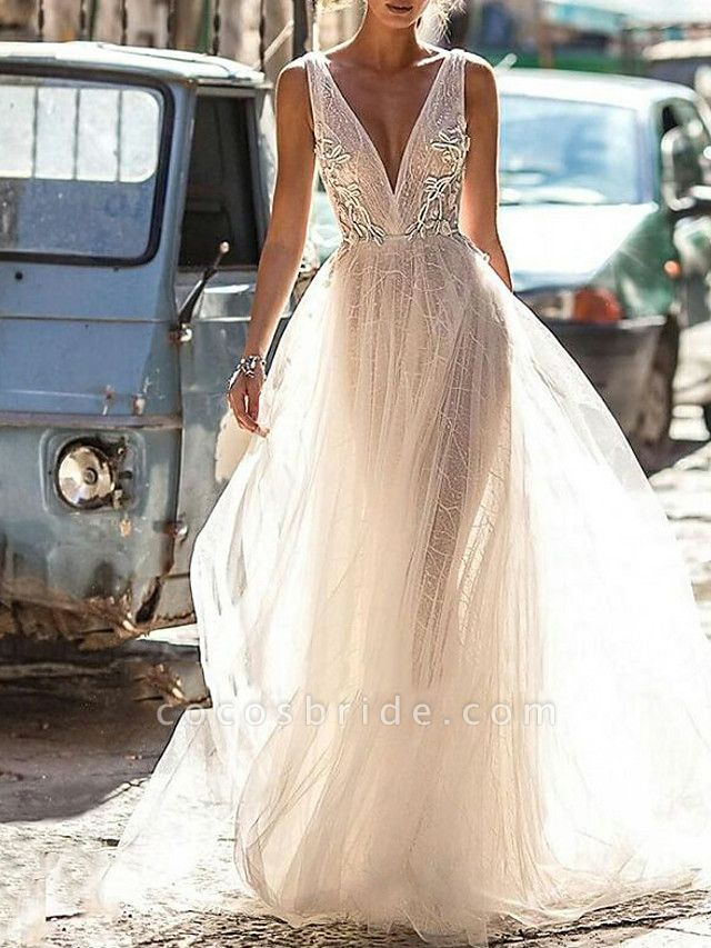 A-Line Wedding Dresses V Neck Floor Length Tulle Regular Straps Boho Illusion Detail Plus Size Backless