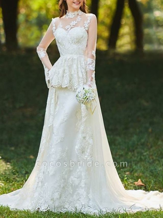 A-Line Wedding Dresses High Neck Sweep \ Brush Train Chiffon Lace Tulle Long Sleeve Romantic Sexy See-Through Backless