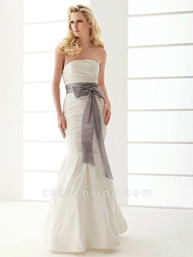 Mermaid \ Trumpet Wedding Dresses Strapless Floor Length Taffeta Sleeveless Wedding Dress in Color