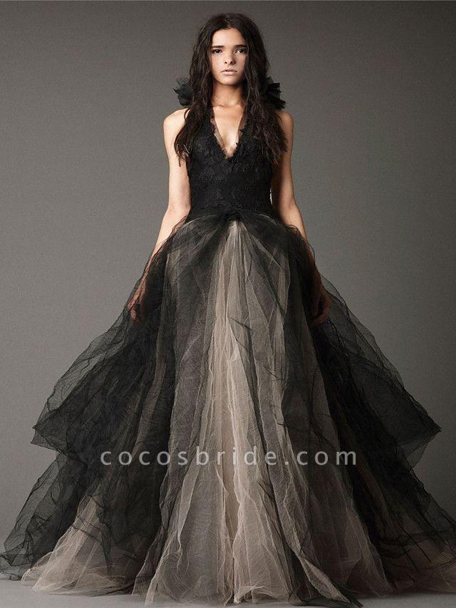 Ball Gown Wedding Dresses Halter Neck Floor Length Satin Tulle Regular Straps Black Modern