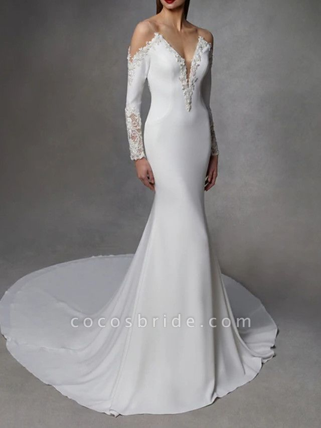 Mermaid \ Trumpet Wedding Dresses V Neck Court Train Stretch Satin Lace Over Satin Long Sleeve