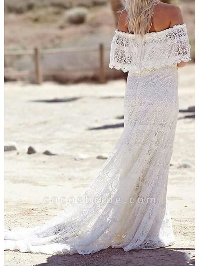 Sheath \ Column Wedding Dresses Off Shoulder Sweep \ Brush Train Lace Half Sleeve Country Plus Size