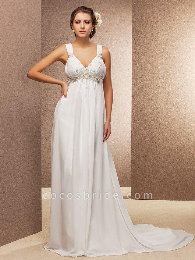 Sheath \ Column Wedding Dresses V Neck Court Train Chiffon Sleeveless See-Through