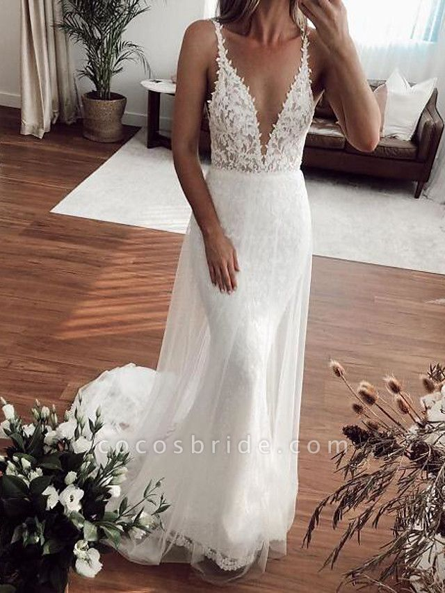 Mermaid \ Trumpet Plunging Neck Sweep \ Brush Train Lace Tulle Sleeveless Country Plus Size Wedding Dresses