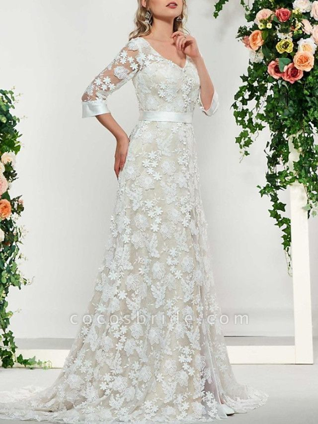 A-Line V Neck Sweep \ Brush Train Lace 3\4 Length Sleeve Formal Illusion Sleeve Wedding Dresses