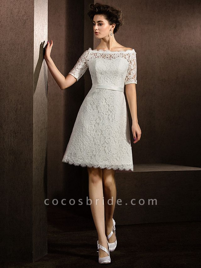 A-Line Wedding Dresses Bateau Neck Knee Length Lace Half Sleeve Formal Casual Little White Dress Illusion Sleeve
