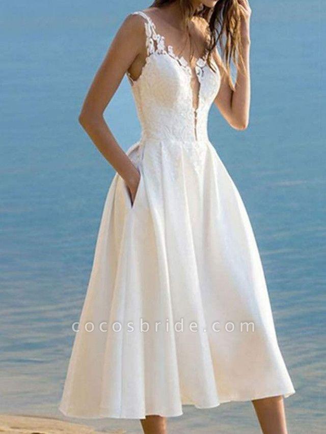 A-Line Wedding Dresses V Neck Ankle Length Lace Satin Sleeveless Vintage 1950s