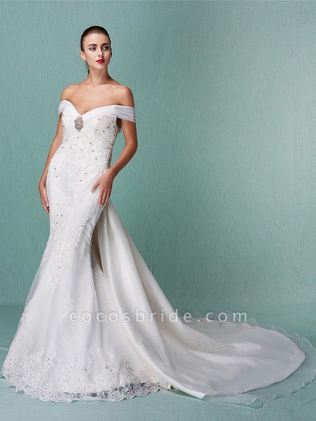 Mermaid \ Trumpet Wedding Dresses Off Shoulder Chapel Train Organza Short Sleeve