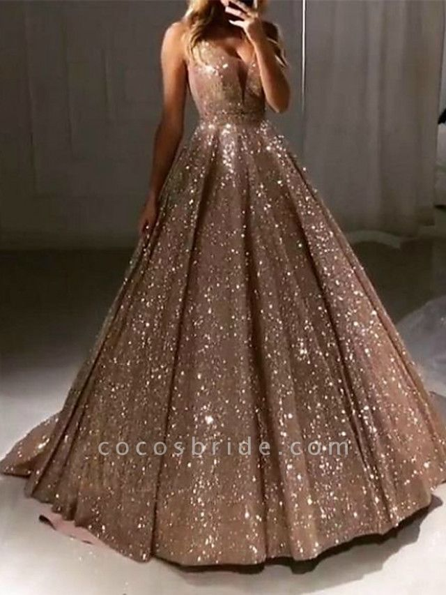 Ball Gown Luxurious Sparkle Quinceanera Prom Dress V Neck Sleeveless Sweep \ Brush Train Sequined