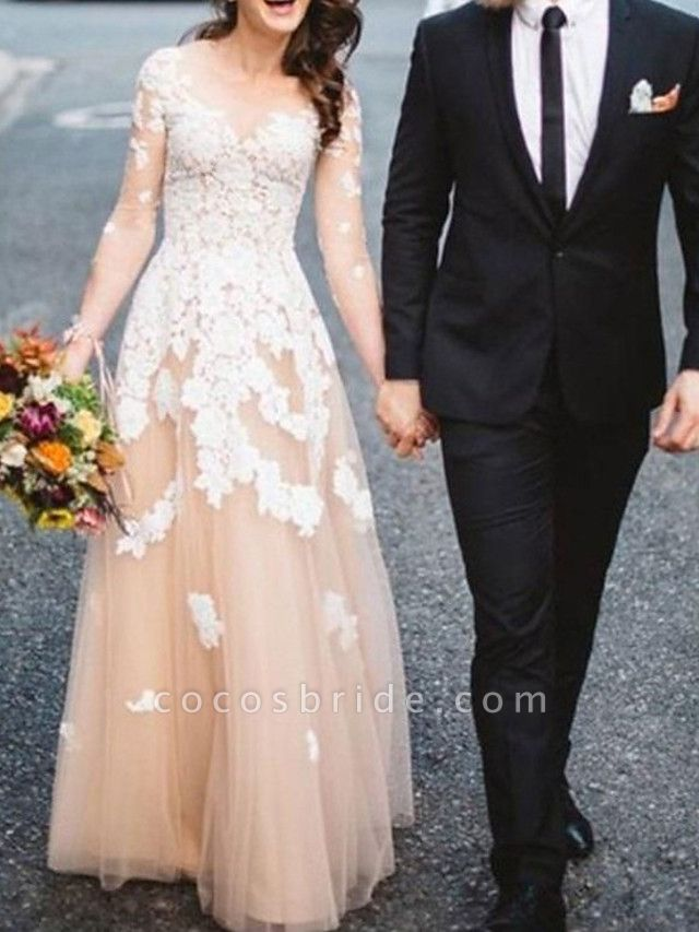 A-Line Wedding Dresses Jewel Neck Sweep \ Brush Train Lace Tulle Long Sleeve Formal See-Through