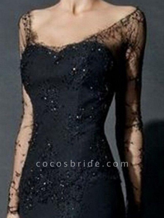 Mermaid \ Trumpet Wedding Dresses V Neck Sweep \ Brush Train Lace Tulle Long Sleeve Formal Black Modern Illusion Sleeve