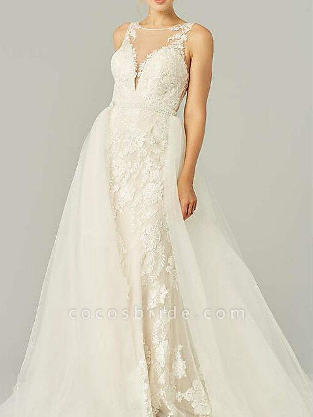 A-Line Wedding Dresses Jewel Neck Sweep \ Brush Train Lace Tulle Sleeveless Country See-Through Plus Size