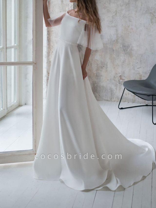A-Line Wedding Dresses Off Shoulder Sweep \ Brush Train Stretch Satin Short Sleeve Country Illusion Sleeve