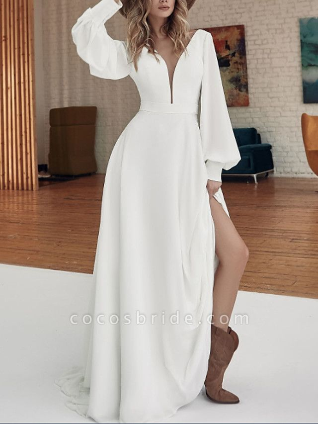 A-Line Wedding Dresses V Neck Sweep \ Brush Train Floor Length Stretch Satin Long Sleeve Country Plus Size