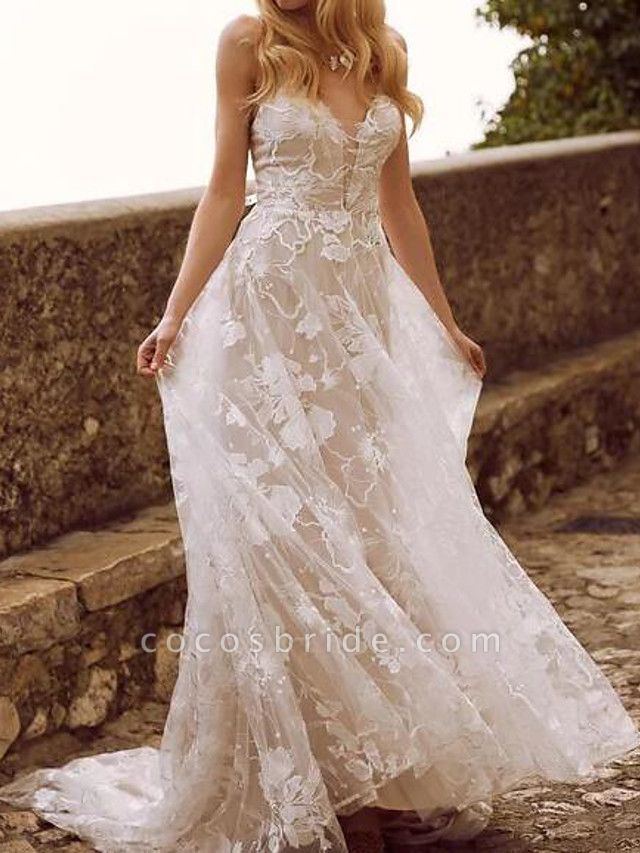 A-Line Wedding Dresses V Neck Sweep \ Brush Train Lace Tulle Sleeveless Country Sexy See-Through