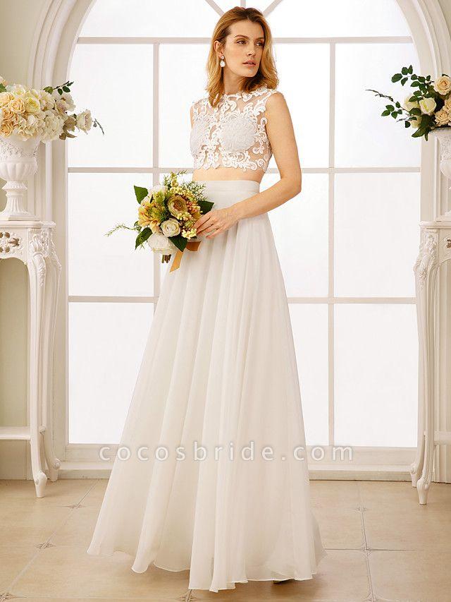 Princess Two Piece Wedding Dresses Jewel Neck Floor Length Chiffon Sleeveless See-Through Beautiful Back Crop Top