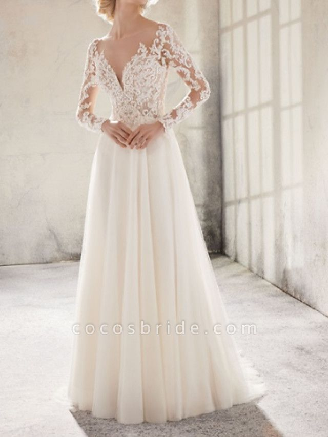 A-Line Wedding Dresses Jewel Neck Sweep \ Brush Train Lace Tulle Long Sleeve Country Plus Size