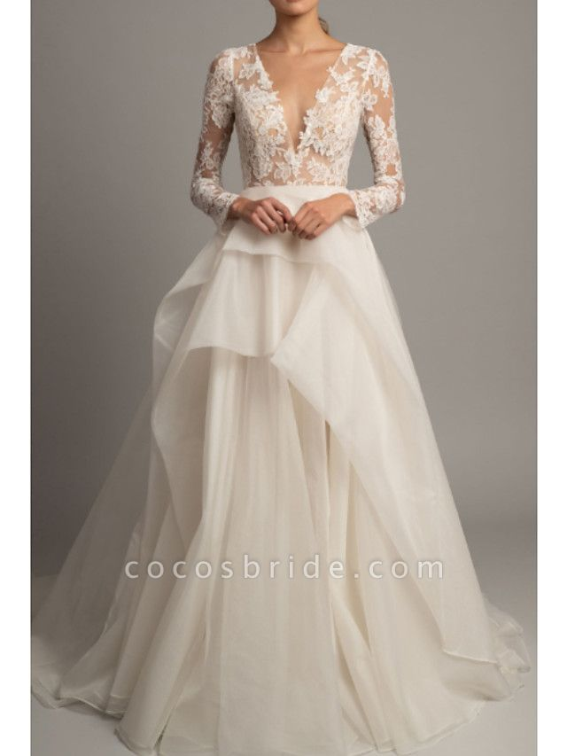 A-Line Wedding Dresses V Neck Court Train Lace Tulle Long Sleeve Romantic Sexy Backless Illusion Sleeve