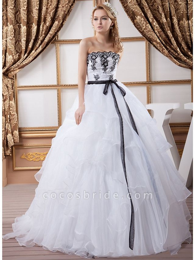 Ball Gown Strapless Court Train Lace Organza Satin Strapless Wedding Dress in Color Wedding Dresses