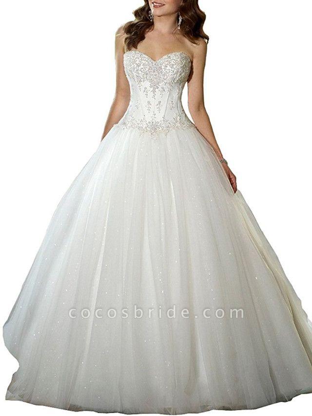 A-Line Sweetheart Neckline Sweep \ Brush Train Tulle Strapless Glamorous \ Vintage Plus Size Wedding Dresses