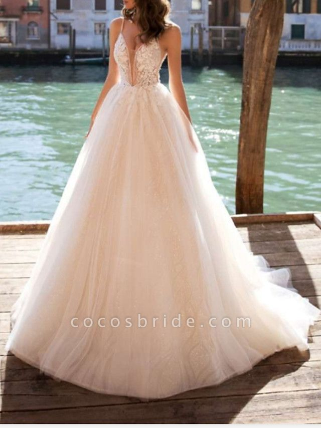A-Line Wedding Dresses V Neck Court Train Tulle Charmeuse Spaghetti Strap Boho See-Through
