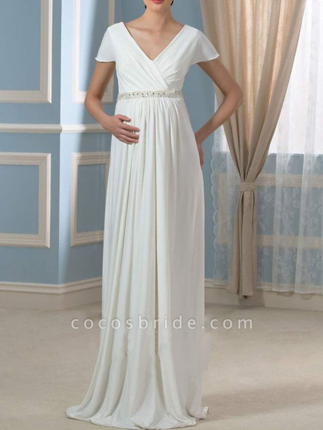 Sheath \ Column Wedding Dresses V Neck Sweep \ Brush Train Chiffon Cap Sleeve Simple