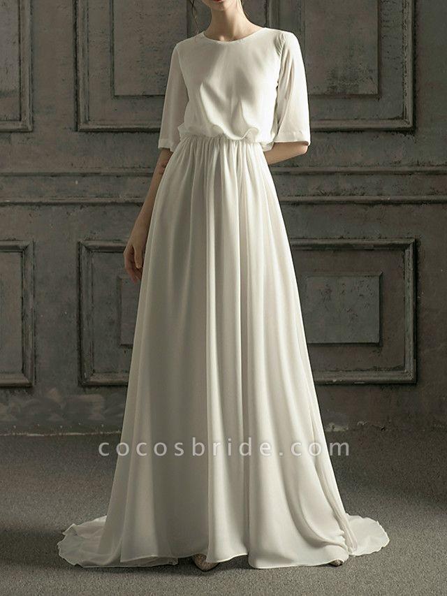 A-Line Wedding Dresses Jewel Neck Sweep \ Brush Train Chiffon Satin Half Sleeve Simple Elegant