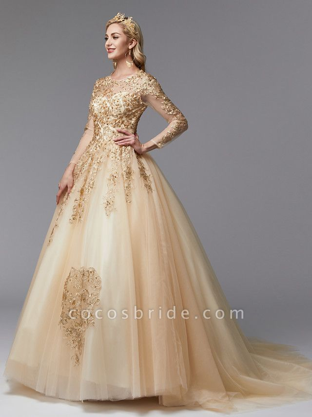 Ball Gown Wedding Dresses Jewel Neck Sweep \ Brush Train Lace Tulle Long Sleeve Glamorous See-Through Backless Modern