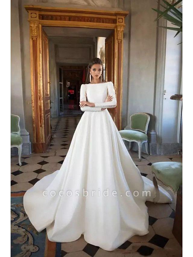 A-Line Wedding Dresses Bateau Neck Court Train Polyester Long Sleeve Simple Backless Elegant