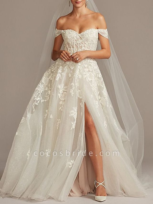 A-Line Wedding Dresses Off Shoulder Sweep \ Brush Train Tulle Short Sleeve Romantic Illusion Detail