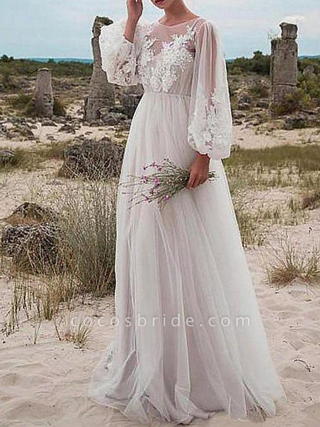A-Line Wedding Dresses Jewel Neck Floor Length Tulle Long Sleeve Romantic Beach Boho See-Through Illusion Sleeve