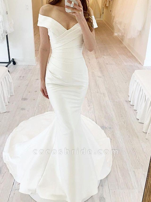 Mermaid \ Trumpet Wedding Dresses Off Shoulder Sweep \ Brush Train Chiffon Over Satin Short Sleeve Simple