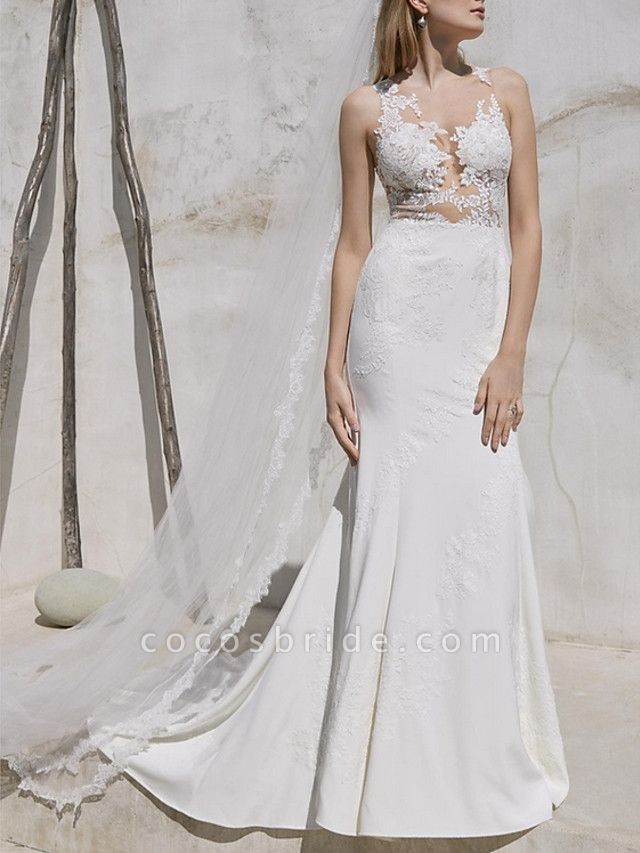 Mermaid \ Trumpet Wedding Dresses V Neck Sweep \ Brush Train Lace Satin Regular Straps Plus Size