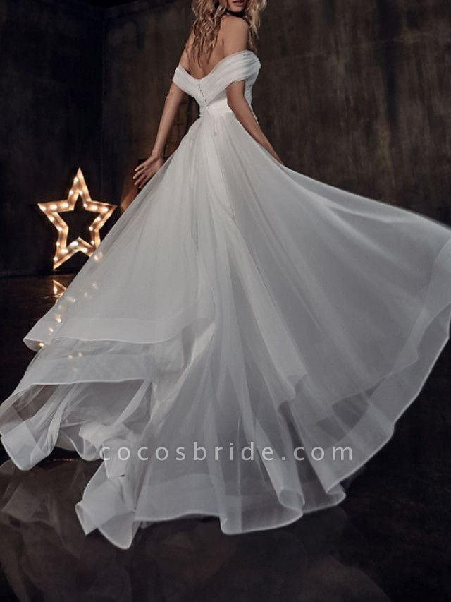 A-Line Wedding Dresses Off Shoulder Sweep \ Brush Train Tulle Short Sleeve Country Plus Size