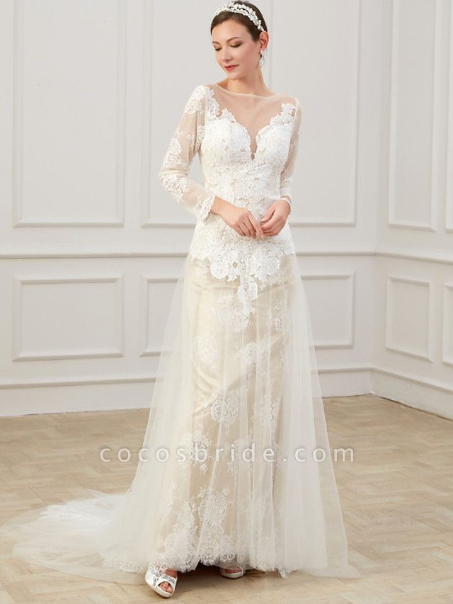 Sheath \ Column Wedding Dresses Jewel Neck Sweep \ Brush Train Lace Tulle Long Sleeve Formal Boho Plus Size Illusion Sleeve