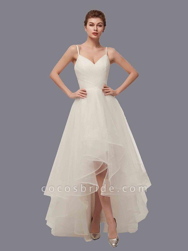 A-Line Wedding Dresses V Neck Asymmetrical Tulle Spaghetti Strap Simple Casual Little White Dress
