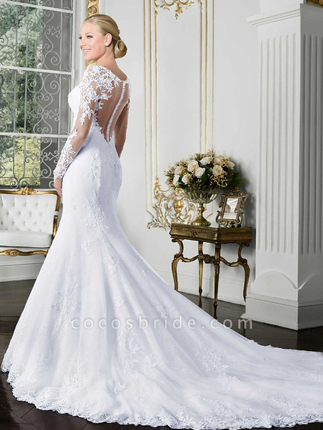 Mermaid \ Trumpet Wedding Dresses Bateau Neck Chapel Train Lace Tulle Lace Over Satin Long Sleeve Beautiful Back Illusion Sleeve