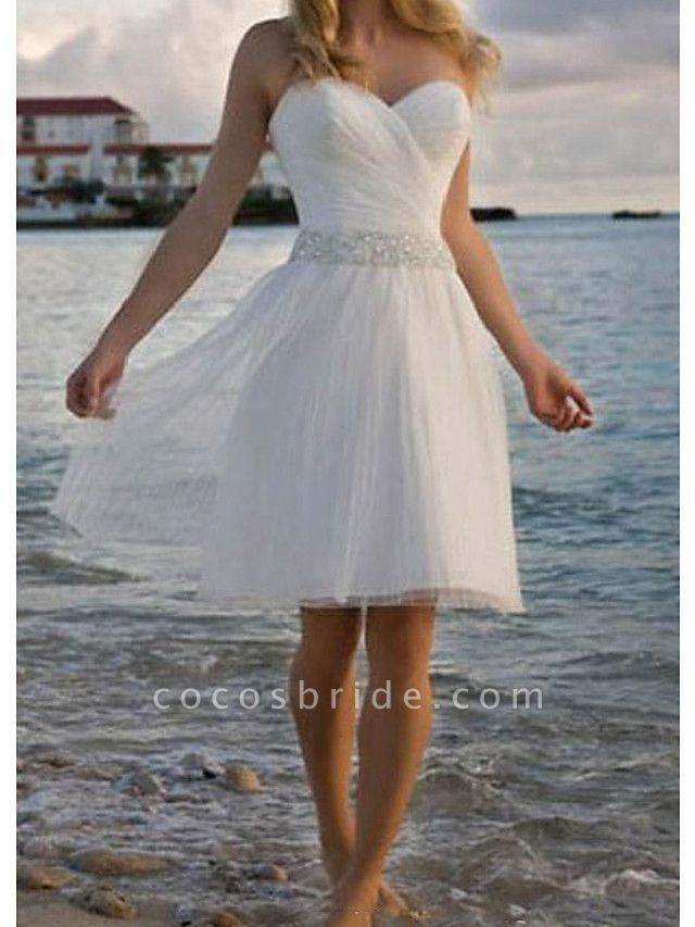 A-Line Wedding Dresses Strapless Knee Length Chiffon Taffeta Stretch Satin Sleeveless Vintage Plus Size