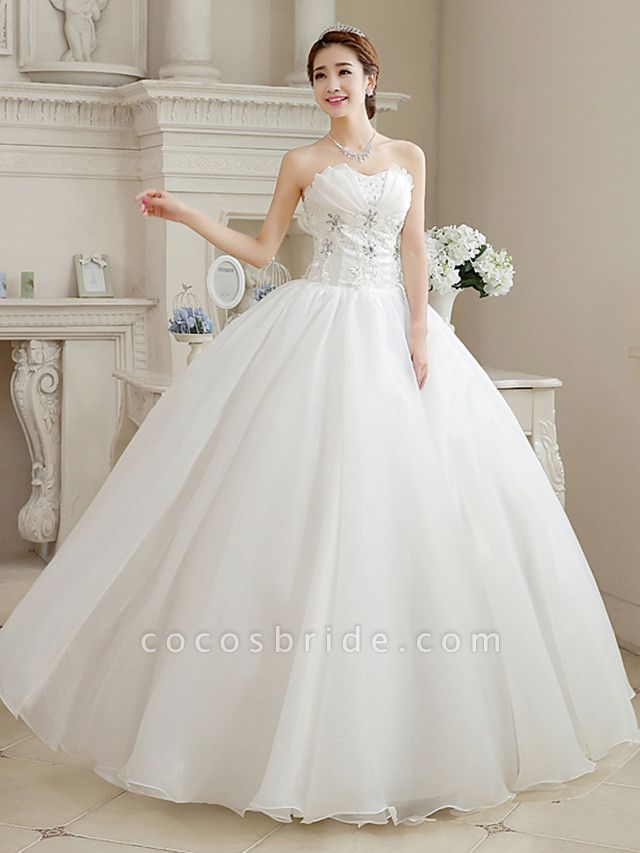 Ball Gown Wedding Dresses Sweetheart Neckline Floor Length Organza Strapless Glamorous Sparkle & Shine
