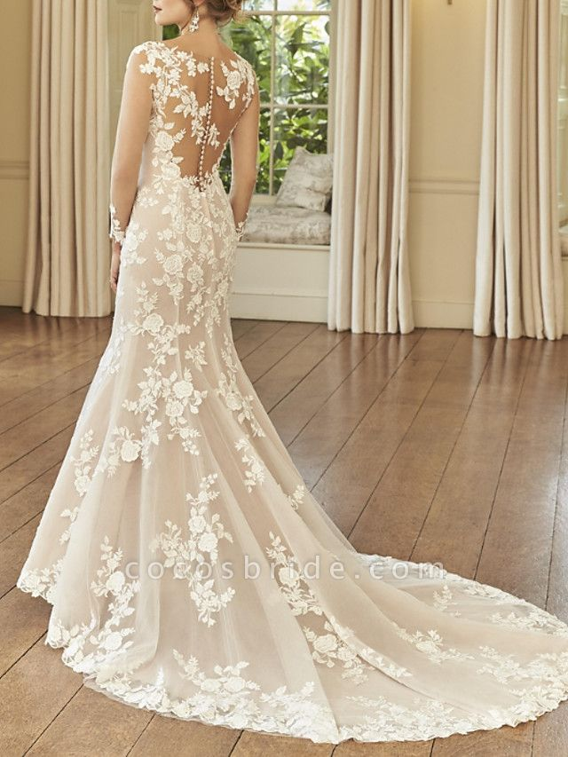 Mermaid \ Trumpet Wedding Dresses Jewel Neck Court Train Lace Long Sleeve Romantic See-Through Illusion Sleeve