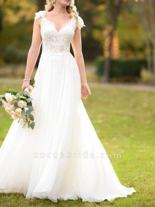 A-Line Wedding Dresses V Neck Sweep \ Brush Train Lace Tulle Spaghetti Strap