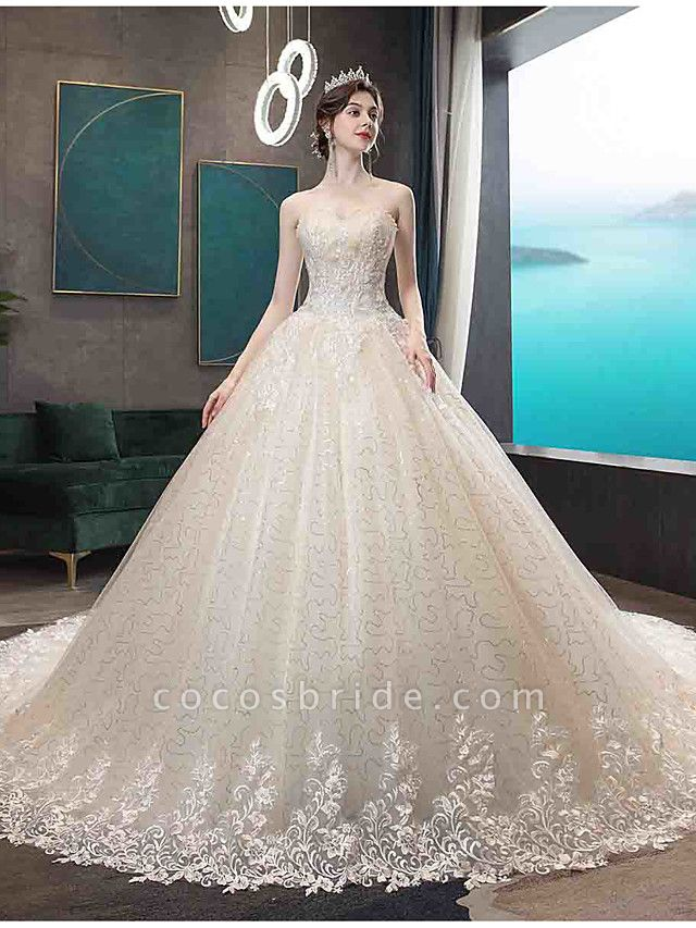 Ball Gown Wedding Dresses Strapless Court Train Tulle Strapless Country Glamorous Illusion Detail