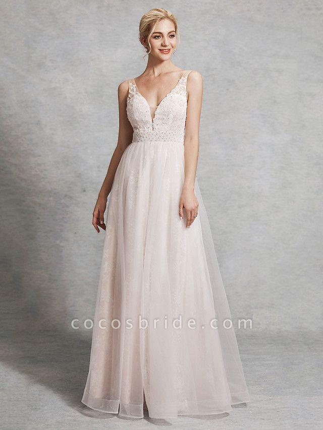 A-Line Wedding Dresses V Neck Floor Length Lace Satin Tulle Regular Straps