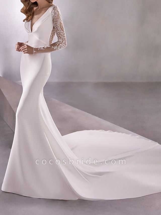 Mermaid \ Trumpet Wedding Dresses Plunging Neck Court Train Polyester Long Sleeve Country Illusion Sleeve