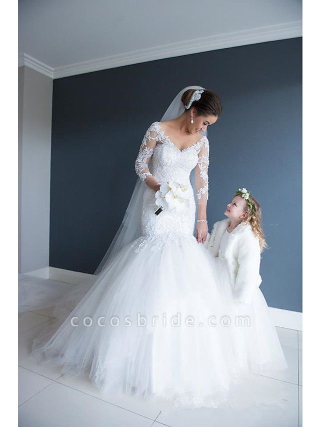 Mermaid \ Trumpet Wedding Dresses V Neck Court Train Lace Organza Tulle 3\4 Length Sleeve Sexy Wedding Dress in Color