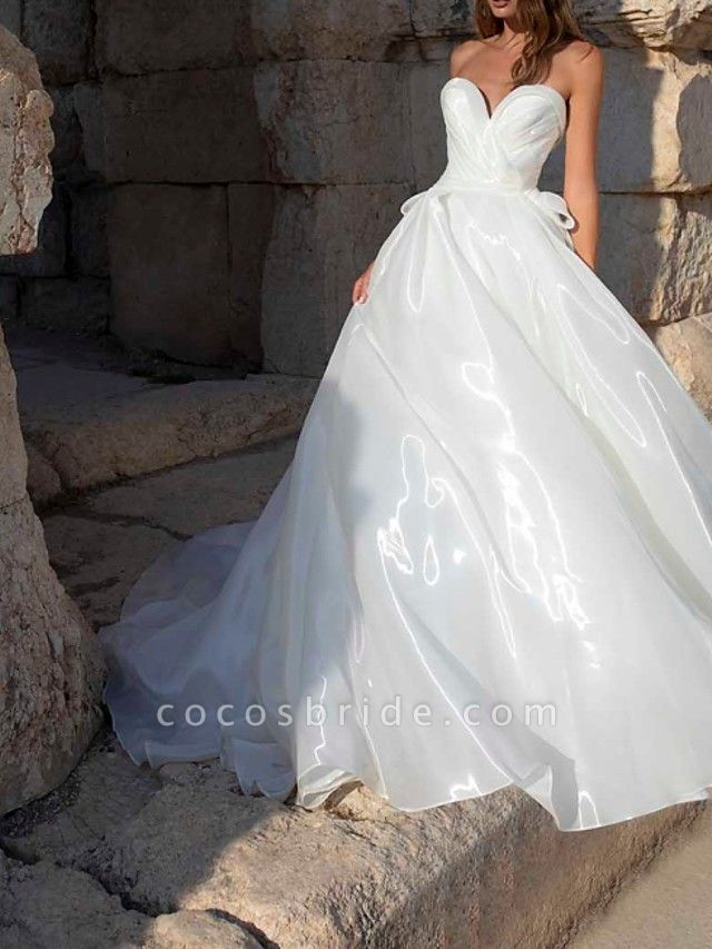 A-Line Wedding Dresses Sweetheart Neckline Sweep \ Brush Train Polyester Sleeveless Country Plus Size