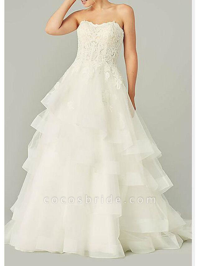 Ball Gown Wedding Dresses Strapless Sweep \ Brush Train Tulle Polyester Sleeveless Country Plus Size