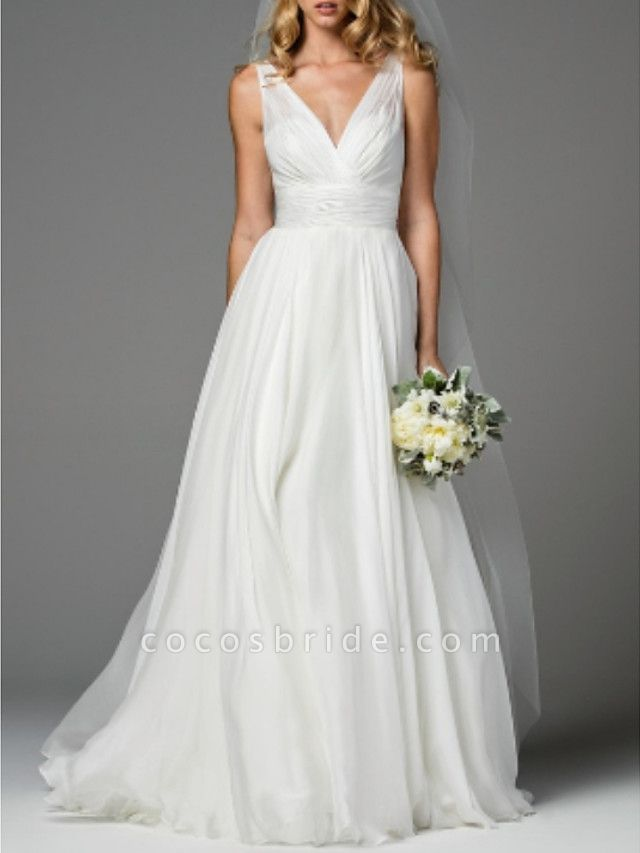 A-Line Wedding Dresses V Neck Sweep \ Brush Train Chiffon Regular Straps Simple Casual Backless