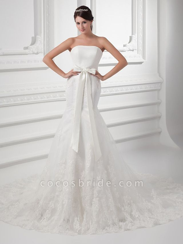 Mermaid \ Trumpet Strapless Chapel Train Lace Satin Tulle Strapless Wedding Dresses